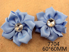 1 Piece  - LIGHT BLUE SATIN MANY PETAL FLOWER WITH ACCENT for Headband, Hairclip, Hairbow