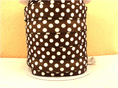 1 Yard -  5/8 inch - WHITE POLKA DOTS ON BROWN   - Fold Over Elastic FOE