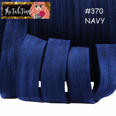1 Yard -  5/8 inch - NAVY BLUE  #370 - Fold Over Elastic FOE SOLID 5/8