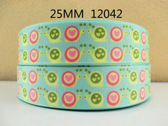 1 Yard 1 inch LOVE SNAILS - STYLE 12042 -  Printed Grosgrain Ribbon
