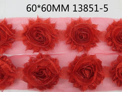 1 Piece  - Sparkle Bright RED Shabby Chic, Frayed Flower, Vintage Look for Headband, Hairclip, Hairbow