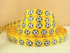 1 Yard 3/8 inch Glitter Soccer Balls on YELLOW (thin) - Printed Grosgrain Ribbon