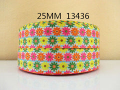 1 Yard 1 inch Daisies (Orange, Hot Pink, Yellow and Green) 13436 - Flowers -  Printed Grosgrain Ribbon