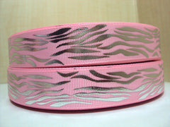 1 yard 7/8 inch  Silver Zebra on Light Pink (horizontal)  -  Printed Grosgrain Ribbon