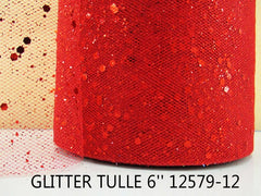 6 INCH WIDTH - GLITTER SPARKLE TULLE - RED - BY THE YARD