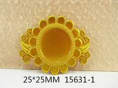 1 Piece  - 60mm - 1 inch center - Gold Tone Flower Frame for Resin Center  - Accent - Flat Back Flatback Cameo Cap 15631-1