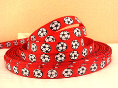 1 Yard 3/8 inch Glitter Soccer Balls on RED (thin) - Printed Grosgrain Ribbon