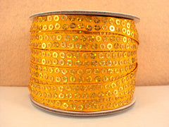 1 Yard 3/8 inch YELLOW / GOLD  - SEQUIN GROSGRAIN - SEQUINS -  Grosgrain Ribbon