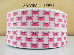 1 Yard 1 inch CUTE PINK CRABS ON WHITE - CRABBY - STYLE 11991 -  Printed Grosgrain Ribbon