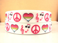 1 yard  7/8 inch PEACE, LOVE AND MUSIC ON WHITE  -  Printed Grosgrain Ribbon