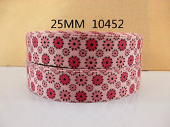 1 Yard 1 inch Deep Pink and Light Pink Flowers on Light Pink Background 10452-  Printed Grosgrain Ribbon