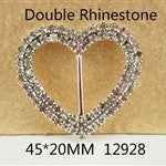 1 Piece  - 45mm - 20mm - Double Rhinestone Heart Buckle Accent  - High Quality - Metal - Crystal - Flat Back Flatback