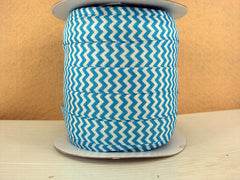 1 Yard -  5/8 inch - Turquoise and White Chevron  - Fold Over Elastic FOE