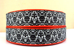 1 Yard 1 inch BLACK DAMASK WITH RED BORDER ON WHITE - Printed Grosgrain Ribbon