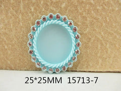 1 Piece -   Rhinestone Resin Cameo -  Light Blue - Center is 1 inch circle 15713-7 Cap Cameo