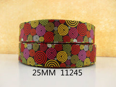 1 Yard 1 inch Kaleidoscope PATTERN 11245  -  Printed Grosgrain Ribbon