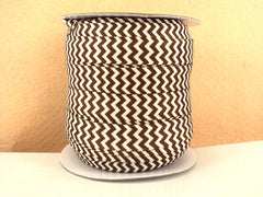 1 Yard -  5/8 inch - Brown and White Chevron  - Fold Over Elastic FOE