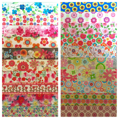 FLORAL / FLOWERS RIBBON KIT - 60 YARDS TOTAL - 3 YARDS EACH DESIGN - 20 DIFFERENT DESIGNS - SOME 7/8 INCH AND SOME 1 INCH - PRINTED GROSGRAIN RIBBON