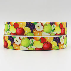 1 Yard 7/8 inch Fruit All over, Apple, Orange  Printed Grosgrain Ribbon