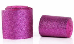 1 Yard - 3 inch Hot Pink Glitter Super Sparkle Grosgrain Ribbon for 3 inch Cheer Hair Bow - Back of Ribbon is Hot Pink Grosgrain 3