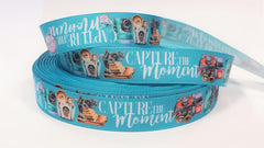 "1 Yard 7/8"" inch Capture the Moment Vintage Cameras Teal Aqua - Photos Printed Grosgrain Ribbon for Hair Bow - Original Design"