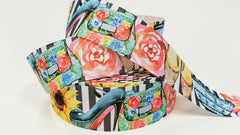 "1 yard 1.5 inch 1.5"" inch Fashion Theme Shoes Purse Flats Heels Flowers on gray Stripes - Printed Grosgrain Ribbon for Hair Bow - Original Design"