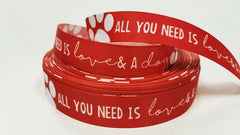 "1 Yard 7/8"" inch All you need is LOVE and a DOG white on Red - Dogs Printed Grosgrain Ribbon for Hair Bow - Original Design"
