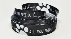 "1 Yard 7/8"" inch All you need is LOVE and a DOG white on Black - Dogs Printed Grosgrain Ribbon for Hair Bow - Original Design"