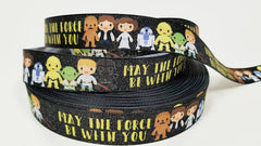 "1 Yard 7/8"" inch Super Hero Super Star Kids - Printed Grosgrain Ribbon for Hair Bow - Original Design"