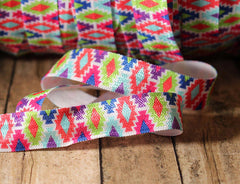 "1 Yard -  5/8"" inch Aztec Tribal Elastic Design - Bridesmaid Gift  - Fold Over Elastic - By the Yard- Shiny DIY For Hair Tie or Headband"