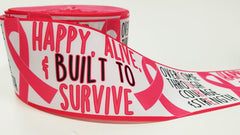 "1 Yard - 3"" inch Breast Cancer Awareness Ribbon - CURE - Built to Survive - Printed Grosgrain Ribbon for 3 inch Cheer Hair Bow"