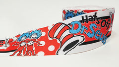 "1 Yard - 3"" inch hats off Dr. Seuss Cat in the Hat - Printed Grosgrain Ribbon for 3 inch Cheer Hair Bow"