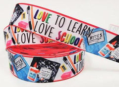 "1 Yard 1.5 inch 1.5"" Love to Learn Love School - Printed Grosgrain Ribbon for 1 1/2 inch Hair Bow"