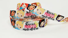 "1 Yard 7/8 "" inch There is a PRINCESS inside all of us - Princess Fairy Tail - Printed Grosgrain Ribbon for 7/8 inch Hair Bow"