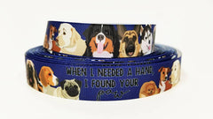 "1 Yard 7/8"" inch When I needed a Hand I found your PAW on Navy blue - Dog - DOGS- Printed Grosgrain Ribbon for Hair Bow - Original Design"