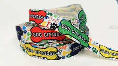 "1 Yard 7/8"" inch Got Treats on Colorful bones and paws dog Dogs collar- Printed Grosgrain Ribbon for Hair Bow - Original Design"