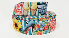 "1 yard 1.5 inch 1.5"" inch Fashion Theme Shoes Purse Flats Heels Flowers on Teal white Stripes - Printed Grosgrain Ribbon for Hair Bow - Original Design"