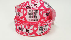 "1 Yard 1.5 inch Breast Cancer Awareness 1.5"" - Built to Survive - CURE - Printed Grosgrain Ribbon for 1 1/2 inch Hair Bow"