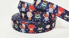 "1 Yard 7/8 "" inch Super Hero Team on Navy with Stars - Printed Grosgrain Ribbon for 7/8 inch Hair Bow"