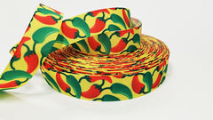 "1 Yard 7/8"" inch Hot Chilli Peppers - Red and Green Jalapenos on Yellow - Printed Grosgrain Ribbon for 7/8 inch Hair Bow"