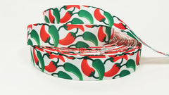 "1 Yard 7/8 "" inch Hot Chilli Peppers - Red and Green Jalapenos on White - Printed Grosgrain Ribbon for 7/8 inch Hair Bow"