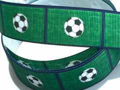 7/8 inch Soccer Ball Field Green Navy Blue Trim Printed Grosgrain Ribbon for Hair Bow  Sports