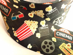 1 yard 3 inch Movie Night Cinema Theater Popcorn Film Movies Printed Grosgrain Ribbon Cheer Hair Bow - 3""