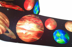 1 Yard - 3 inch Planets Universe Science Earth Sun Solar System Printed Grosgrain Ribbon Cheer Hair Bow - 3""