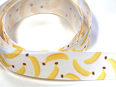 "1 Yard 7/8 inch 7/8"" inch Bananas on White Monkey Cute - Printed Grosgrain Ribbon for Hair Bow - Original Design 7/8"