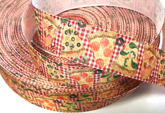1 yard 7/8 inch PIZZA I love Pizza On Red Gingham Pepperoni Food Mushroom Printed Grosgrain Ribbon Hair Bow - 7/8""