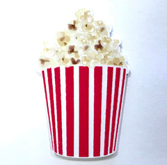1 PIECE - RESIN Popcorn Movie Flatback planar Flat back Accent - Approx. 2.4 inch x 1.5 inch for Hair bow Center