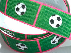 7/8 inch Soccer Ball Field Green Pink Trim Printed Grosgrain Ribbon for Hair Bow  Sports