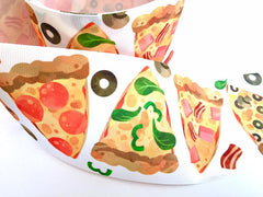 1 yard 3 inch PIZZA I love Pizza Pepperoni Food Mushroom Printed Grosgrain Ribbon Cheer Hair Bow - 3""