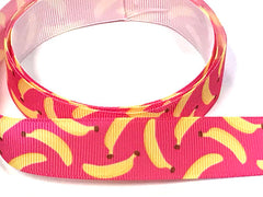 "1 Yard 7/8 inch 7/8"" inch Bananas on Hot Pink Monkey Cute - Printed Grosgrain Ribbon for Hair Bow - Original Design 7/8"
